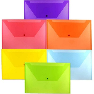 JAM Paper 9 3/4'' x 14 1/2'' 6pk Plastic Envelopes with Snap Closure, Legal Booklet - Multicolor