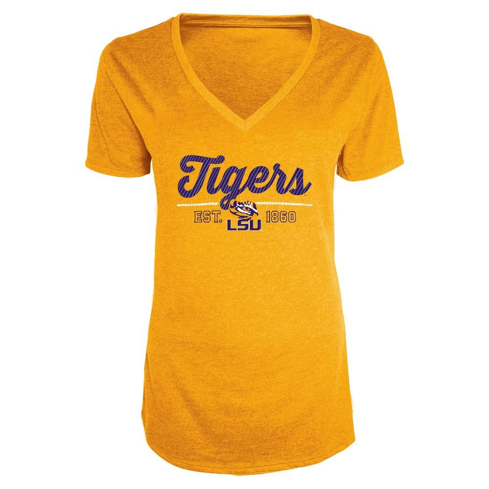 NCAA Women's Bright Spot V-Neck Bi-Blend T-Shirt Lsu Tigers - S, Multicolored