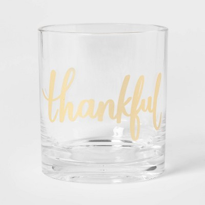 14oz Plastic Double Old-Fashioned Fall Thankful Glass - Threshold™