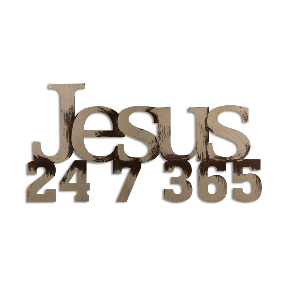 Image of Letter2Word Hand Painted Jesus 3D Wall Sculpture - Nickel, Brushed Nickel
