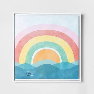 "16""x16"" Rainbow Framed Canvas Wall Art - Pillowfort™"