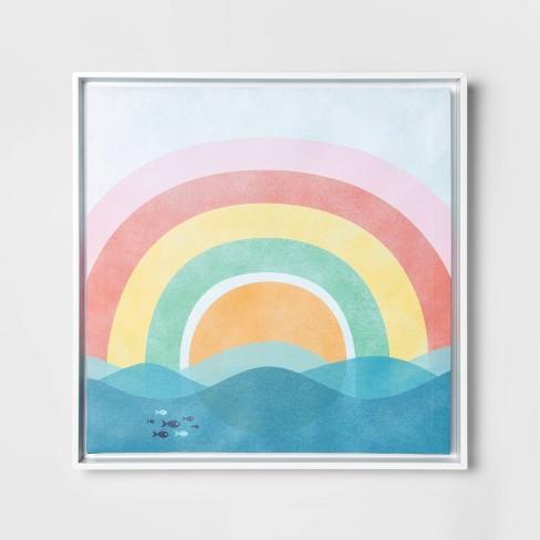 "16""x16"" Rainbow Framed Canvas Wall Art - Pillowfort™ - image 1 of 2"