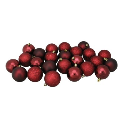 "Northlight 24ct Shatterproof 4-Finish Christmas Ball Ornament Set 2.5"" - Burgundy"