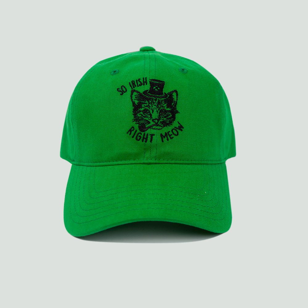 Men's So Irish Right Meow Dad Hat - Green One Size
