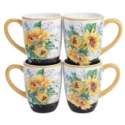 18oz 4pk Earthenware Sunflower Fields Mugs - Certified International
