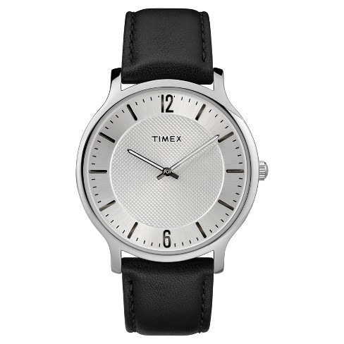 Men's Timex Metropolitan Watch with Leather Strap - Silver/Black - image 1 of 3