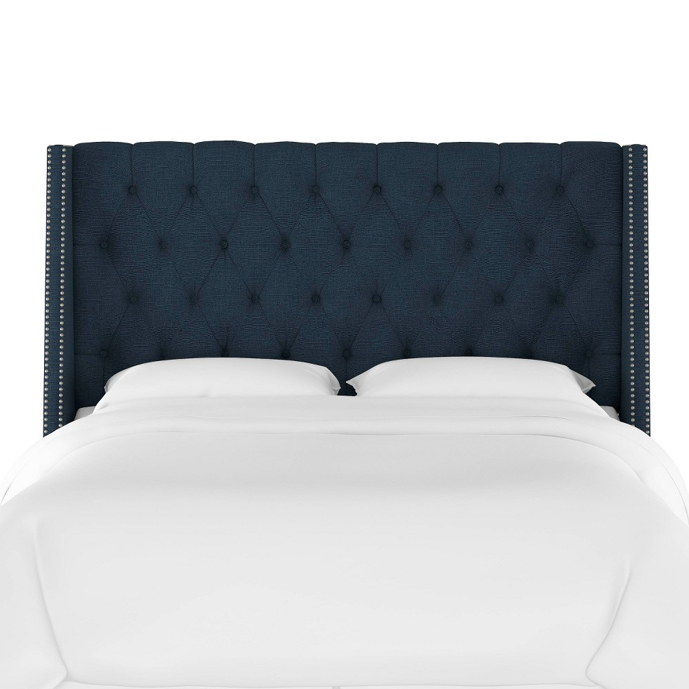 King Diamond Tufted Wingback Headboard Navy (Blue) Linen with Pewter Nail Buttons - Skyline Furniture