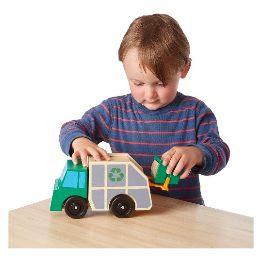 Melissa & Doug Garbage Truck Wooden Vehicle Toy (3pc) image number null
