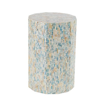 Natural Wood and Shell Octagon Accent Table Blue - Olivia & May
