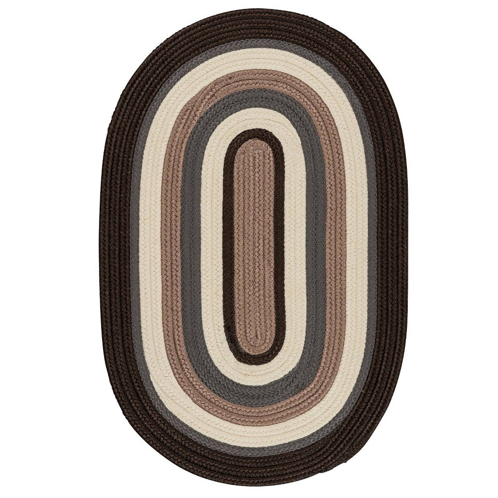 Oval Mountain Top Braided Area Rug Brown