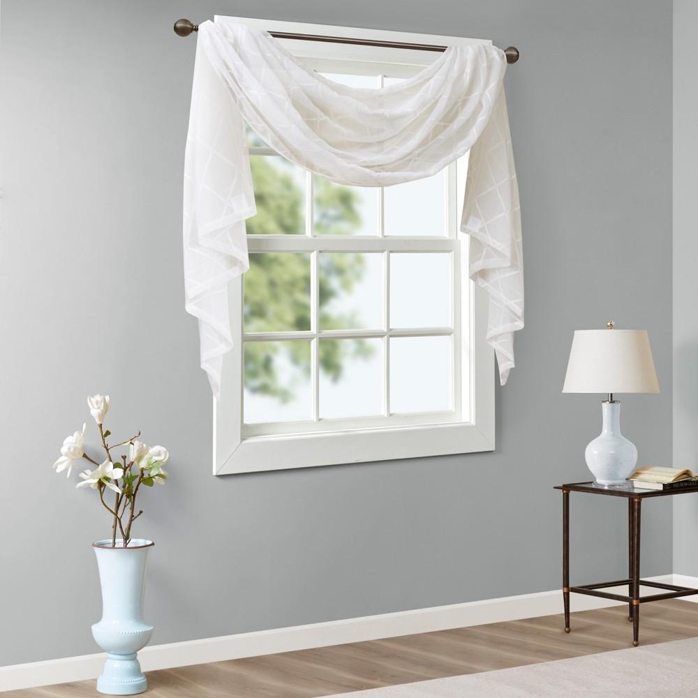 216 34 X50 34 Clarissa Diamond Sheer Embroidered Window Scarf White