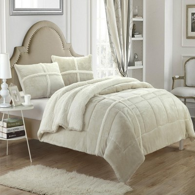Chic Home Chloe Plush Microsuede Soft & Cozy Sherpa Lined Comforter & Shams Set, 3 Piece - Beige