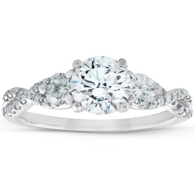 Pompeii3 1 1/2Ct Three Stone Diamond & Moissanite Infinity Engagement Ring 14k White Gold
