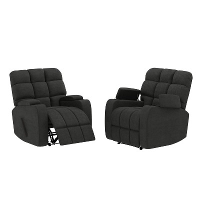 Set of 2 Wall Hugger Storage Recliner Chairs Microfiber - ProLounger