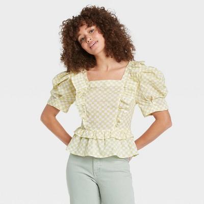 Women's Puff Short Sleeve Ruffle Peplum Blouse - Universal Thread™