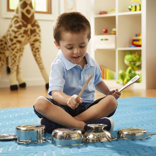 Melissa & Doug Deluxe Stainless Steel Pots & Pans Play Set image number null