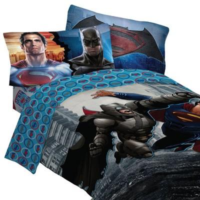 Batman vs Superman Bedding Set Worlds Finest Heroes Comforter and Sheet Set