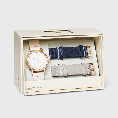 Women's Strap Watch with Changeable Straps - A New Day™ Beige/Navy/Gray