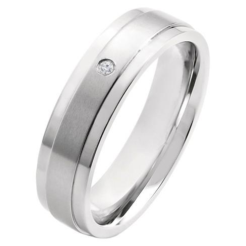 Men's Crucible 0.02 CT. T.W. Round Cut Diamond Stud Bezel Set Ring in Titanium (H-I-SI2) - image 1 of 4