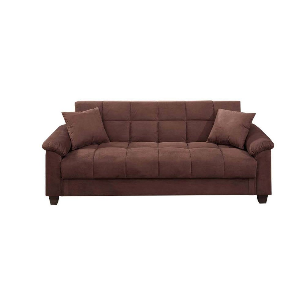 Image of Microfiber Adjustable Sofa With 2 Pillows Brown - Benzara