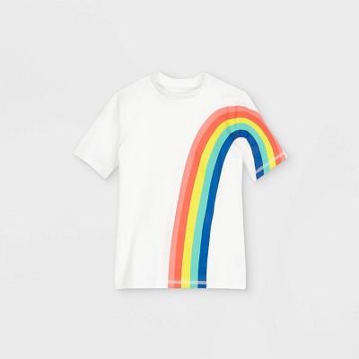 Girls' Rainbow Short Sleeve Rash Guard Swim Shirt - Cat & Jack™ White
