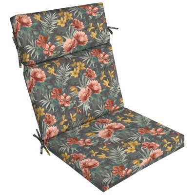 Phoebe Floral Outdoor Dining Chair Cushion Gray - Arden Selections