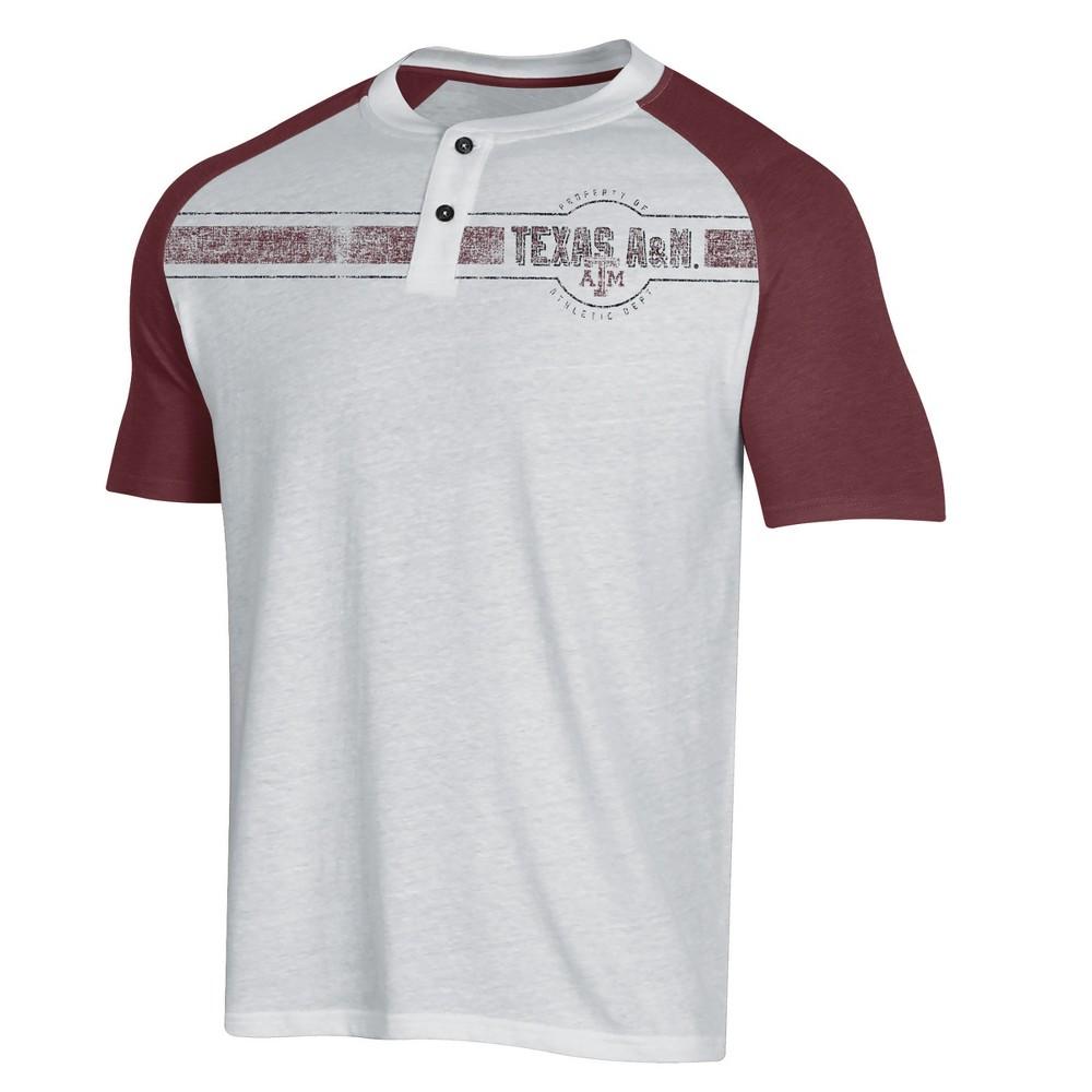 NCAA Men's Raglan Henley T-Shirt Texas A&m Aggies - L, Multicolored