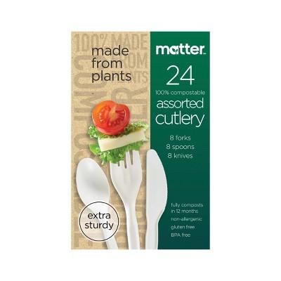 Matter 100% Compostable Forks, Spoons & Knives - 24ct