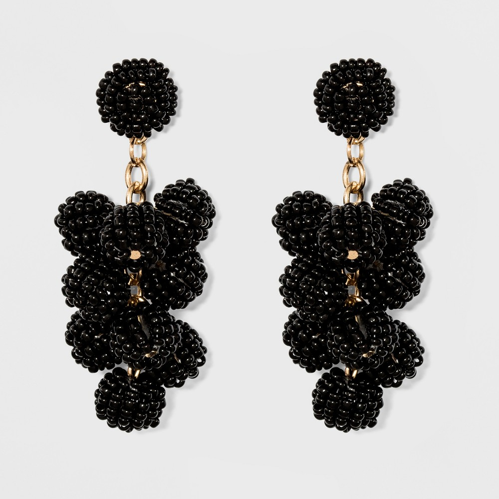 Linear Drop with Beaded Round Balls Earrings - A New Day Black