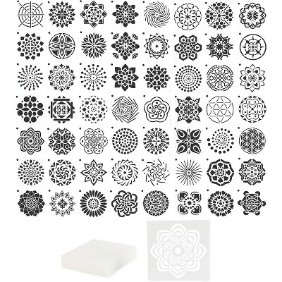 "Bright Creations Mandala Dot Paint Stencils - Reusable DIY Painting Templates (3.6"" x 3.6"", 56 PCS)"