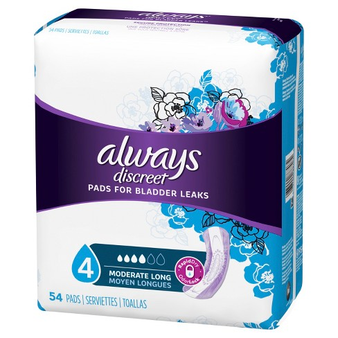 Always Discreet Moderate Absorbency Long Length Incontinence Pads - image 1 of 6