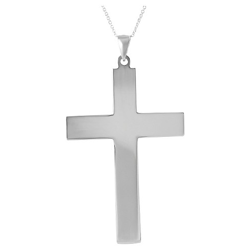 "Women's Journee Collection Wide-cut Cross Pendant Necklace in Sterling Silver - Silver (18"") - image 1 of 3"