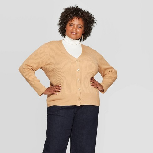 Women's Plus Size Long Sleeve Light Weight Rib Cardigan - A New Day™ - image 1 of 3
