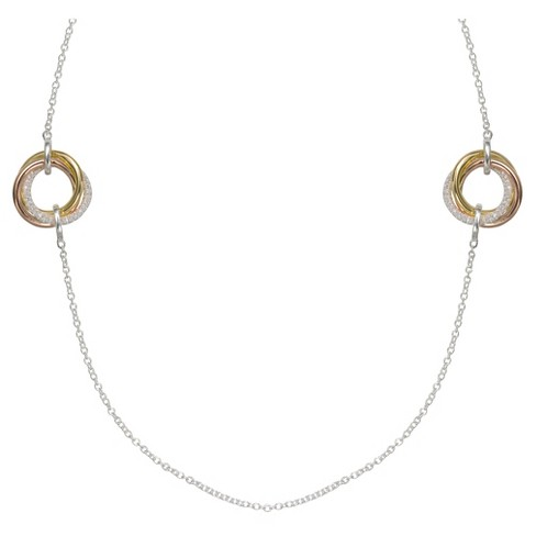 "Women's Loveknot Station Necklace with Rose Gold Accents in Sterling Silver - Silver/Rose (36"") - image 1 of 1"