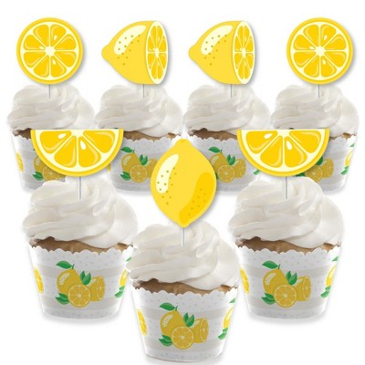 Big Dot of Happiness So Fresh - Lemon - Cupcake Decoration - Citrus Lemonade Party Cupcake Wrappers and Treat Picks Kit - Set of 24