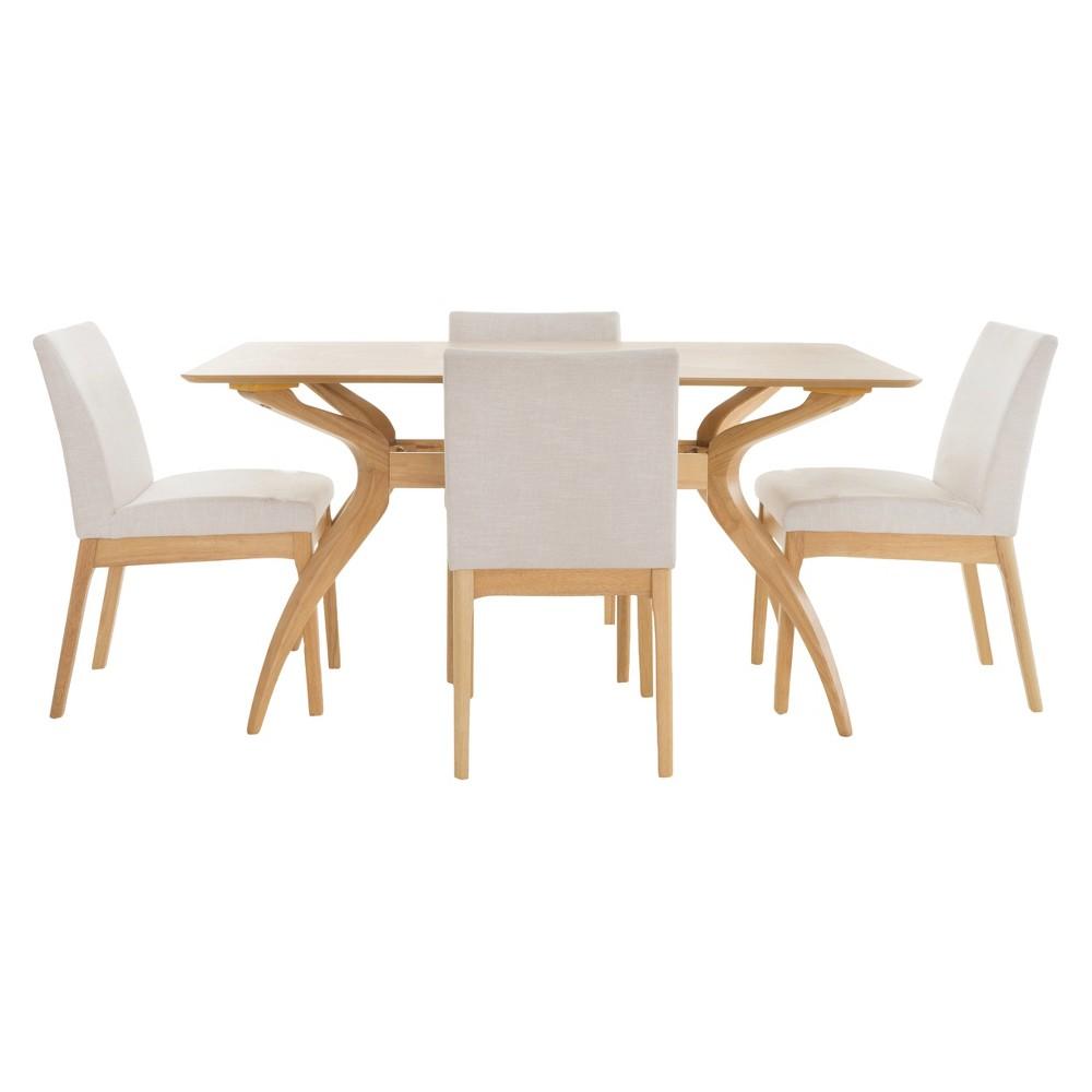 Kwame 60 5pc Dining Set - Light Beige/Natural Oak - Christopher Knight Home, Light Beige/Brown