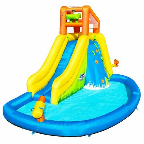 Bestway 53346E H2OGO! Mount Splashmore Kids Inflatable Backyard Water Slide Splash Mega Park Toy with Climbing Wall, Slide, Splash Zone, and Blasters - image 1 of 3