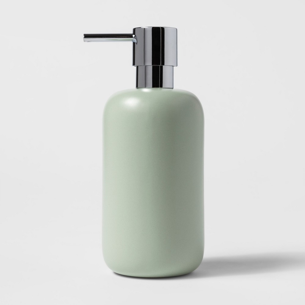 Image of Ceramic Soap/Lotion Dispenser Silver Green - Project 62