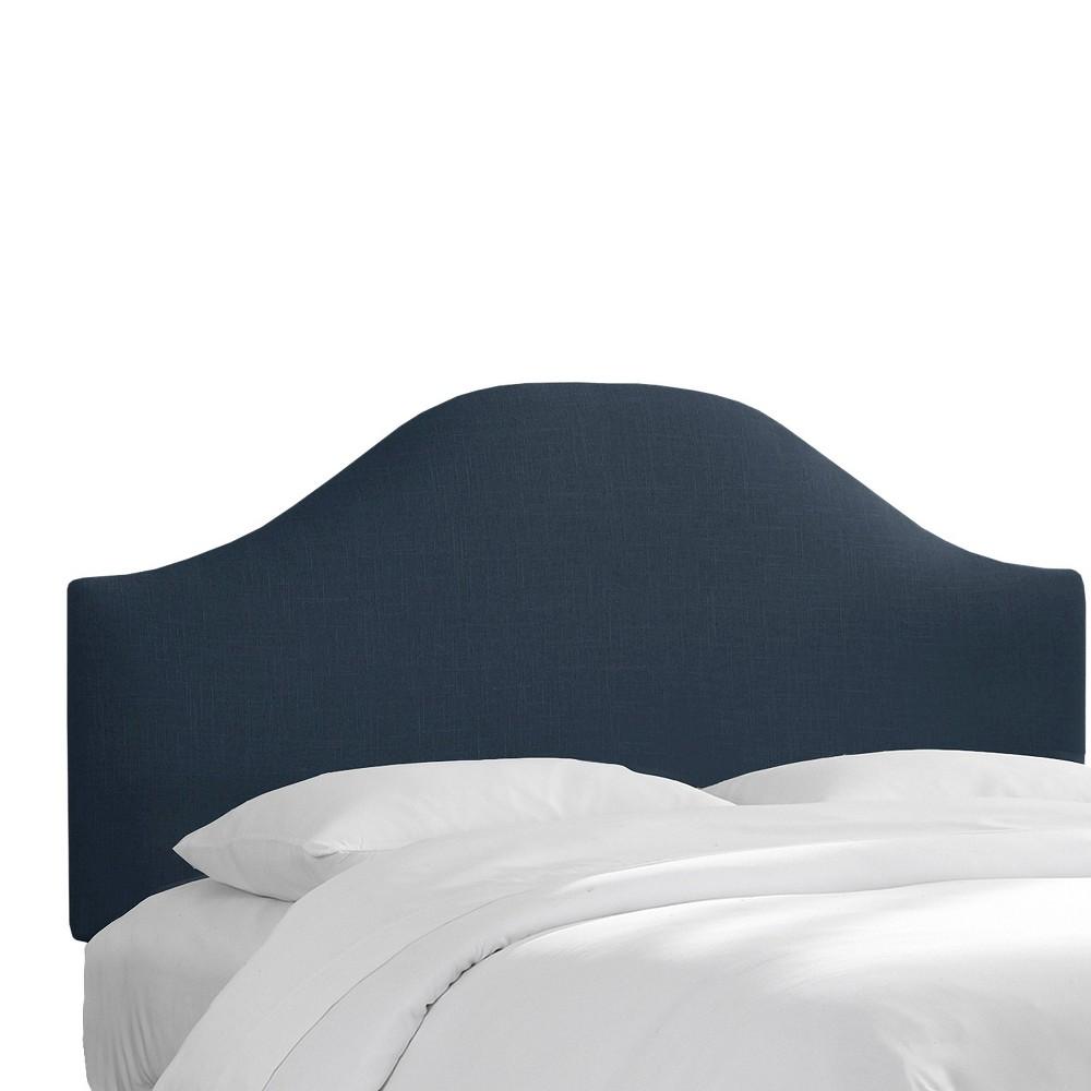 Custom Upholstered Curved Headboard - Linen Navy - Full - Skyline Furniture