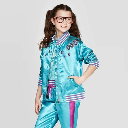 Girls' Aladdin Bomber Jacket - Turquoise - image 1 of 3
