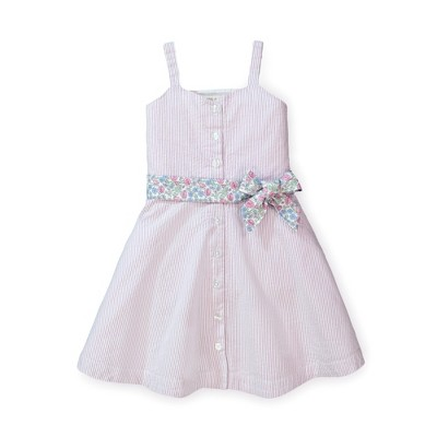 Hope & Henry Girls' Sleeveless Button Front Sun Dress with Waist Sash, Kids