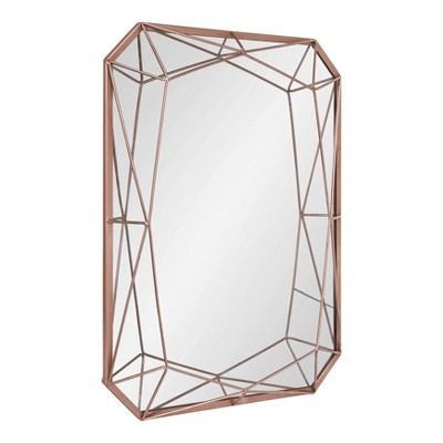 "22"" x 28"" Keyleigh Rectangle Metal Accent Wall Mirror Rose Gold - Kate and Laurel"