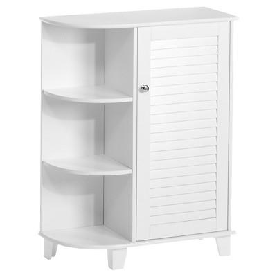 Ellsworth Floor Cabinet with Side Shelves - White