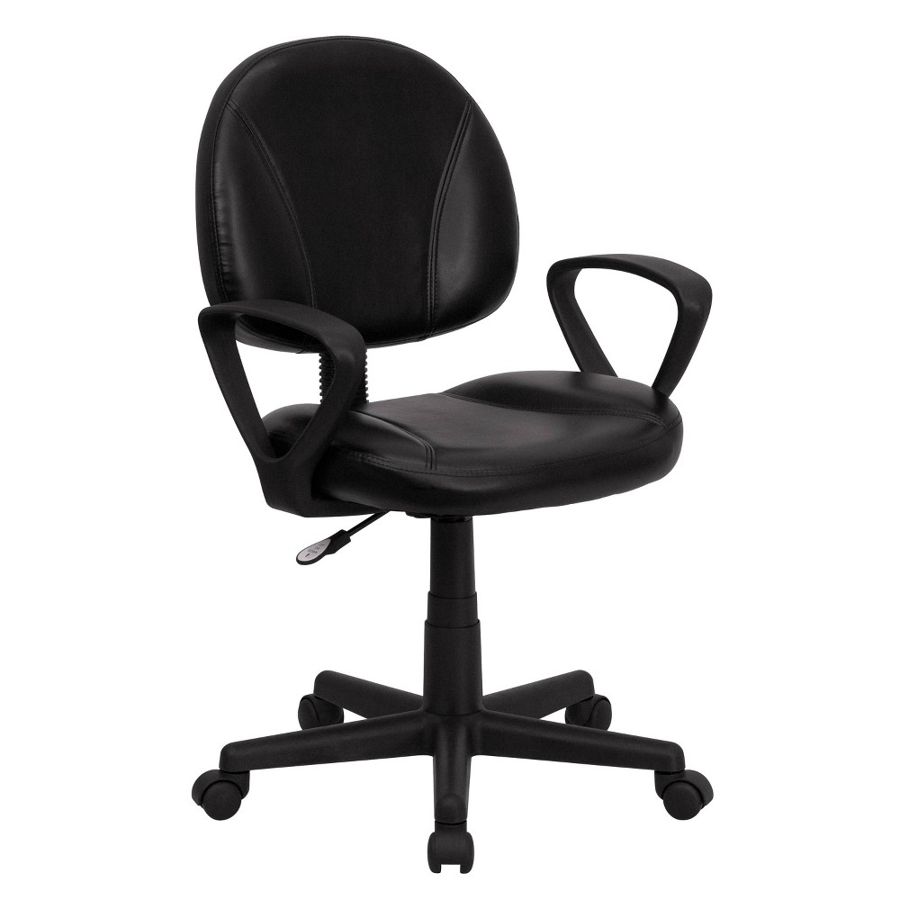 Image of Mid-Back Black Leather Ergonomic Swivel Task Chair with Arms - Belnick