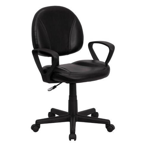 Mid-Back Black Leather Ergonomic Swivel Task Chair with Arms - Belnick - image 1 of 4