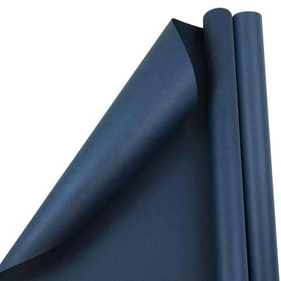 JAM PAPER Navy Blue Matte Gift Wrapping Paper Rolls - 2 packs of 25 Sq. Ft.