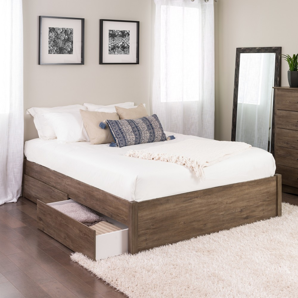 Queen Select 4 - Post Platform Bed with 2 Drawers Drifted Gray - Prepac