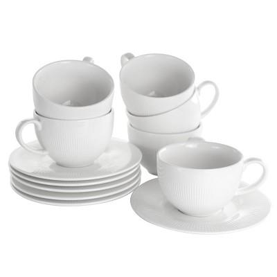 8oz 12pc Porcelain Cafe Cup and Saucer Set White - Elama