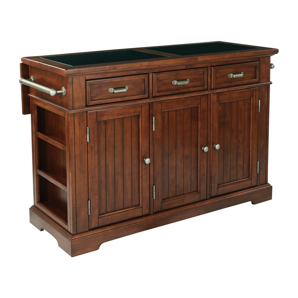 Farmhouse Basics Kitchen Island With Vintage Oak Finish And 3/4 Inlaid Granite Top - Inspired by Bassett