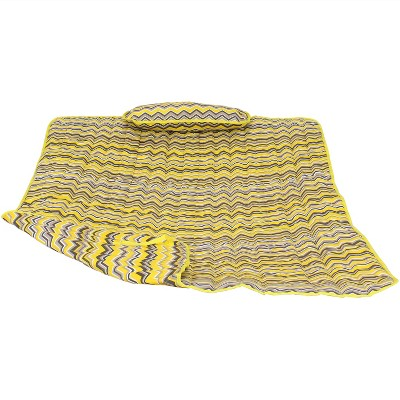 Cotton Quilted Hammock Pad and Pillow - Yellow and Gray Chevron - Sunnydaze Decor